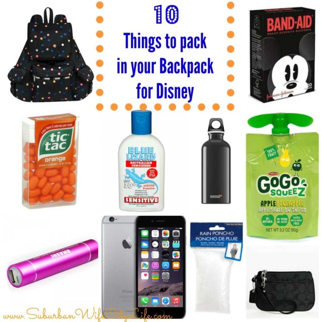 10 things for your Disney Back Pack