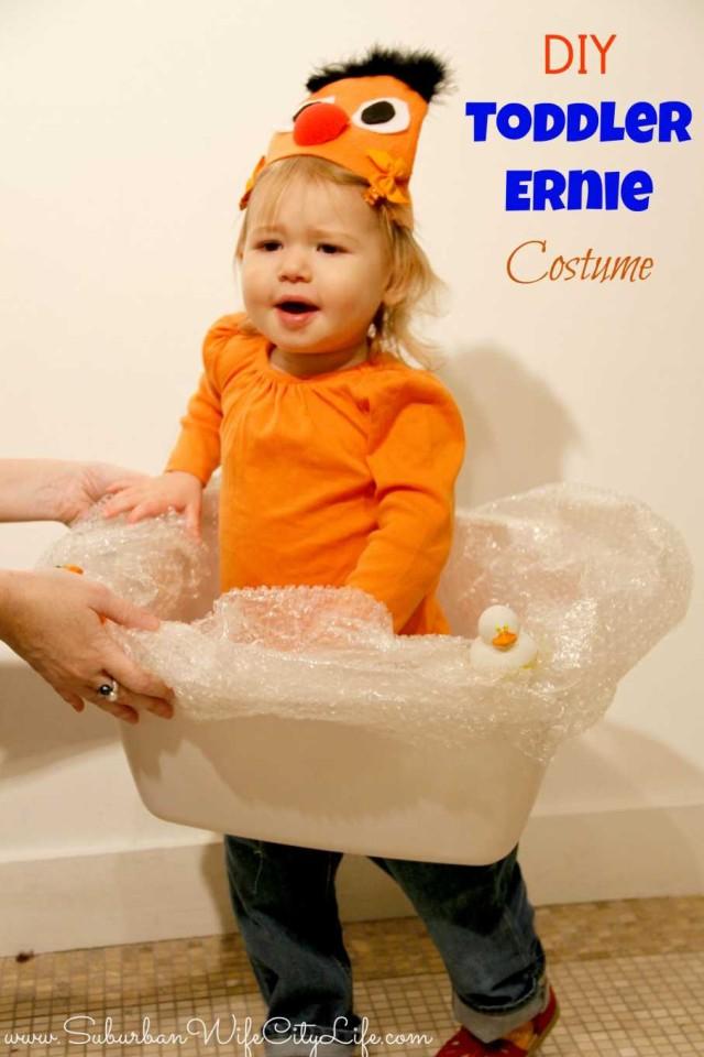 DIY Toddler Ernie Costume and tub