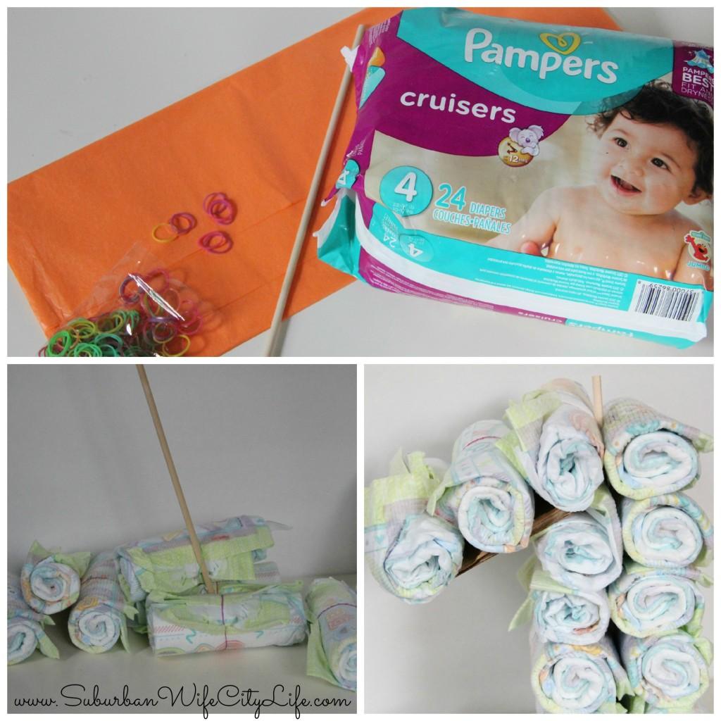 1st Birthday Diaper Cake steps