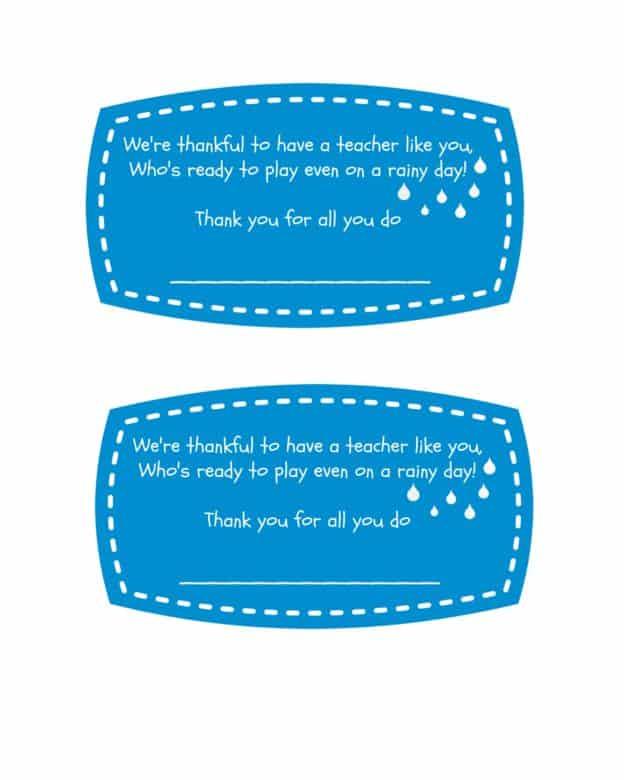 """""""Free Printable Teacher Umbrella Gift"""""""