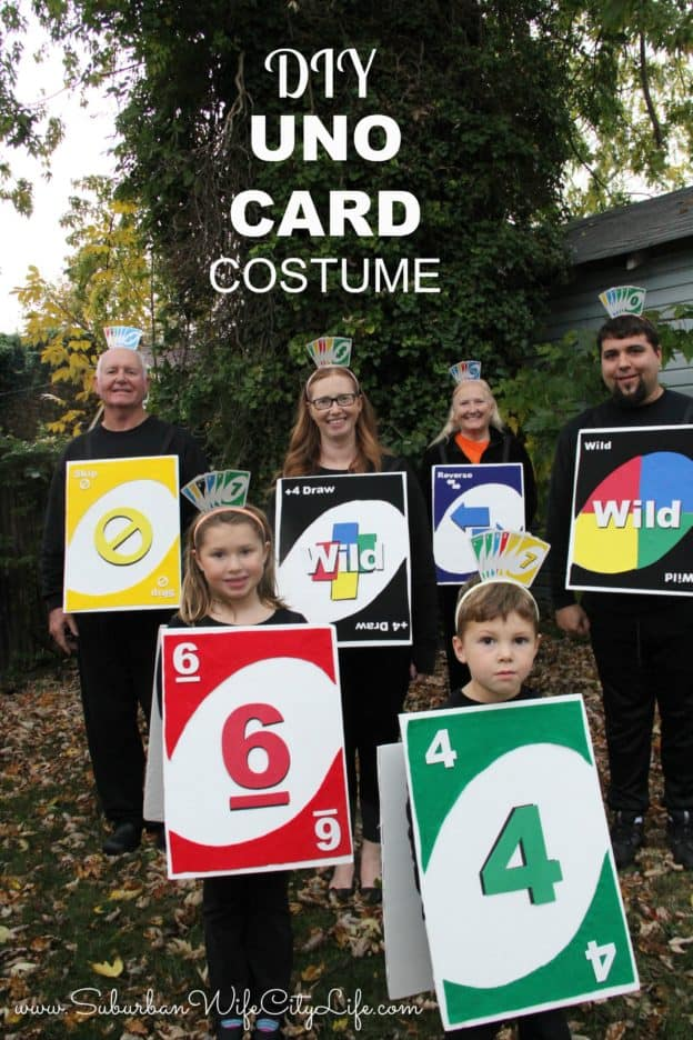 DIY UNO Card Group Costume #CricutMade #DIYHalloween #HalloweenCostume #GroupCostume #FamilyCostume #NoSewCostume