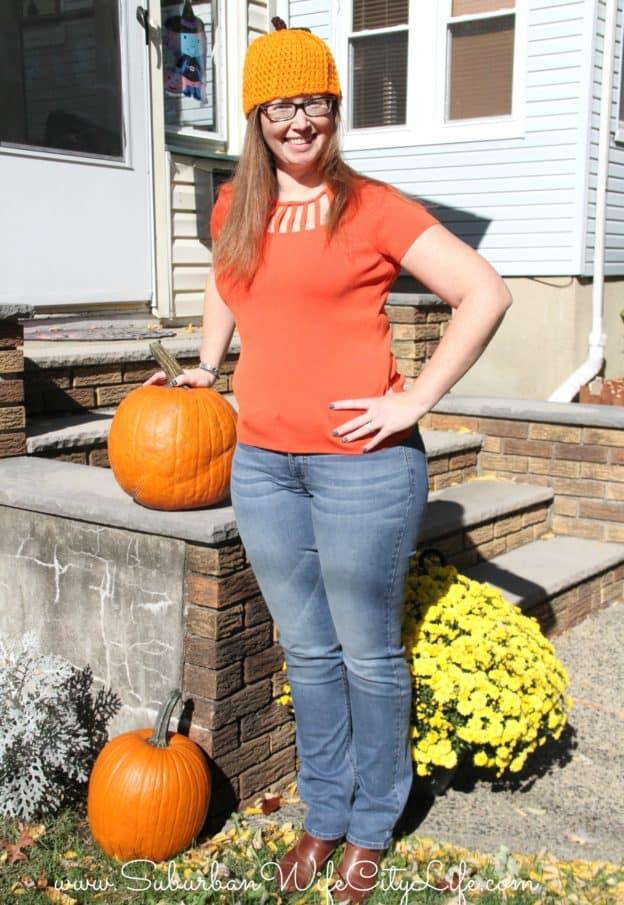 Pumpkin -Rider by Lee Jeans, Orange shirt and pumpkin hat.jpg
