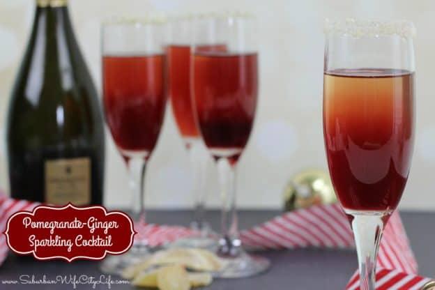 Christmas Cocktail Pomegranate-Ginger Sparkling Cocktail