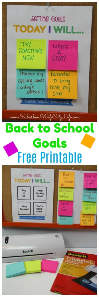 Setting Goals Today I Will... Free Printable for Back to School Goal Setting