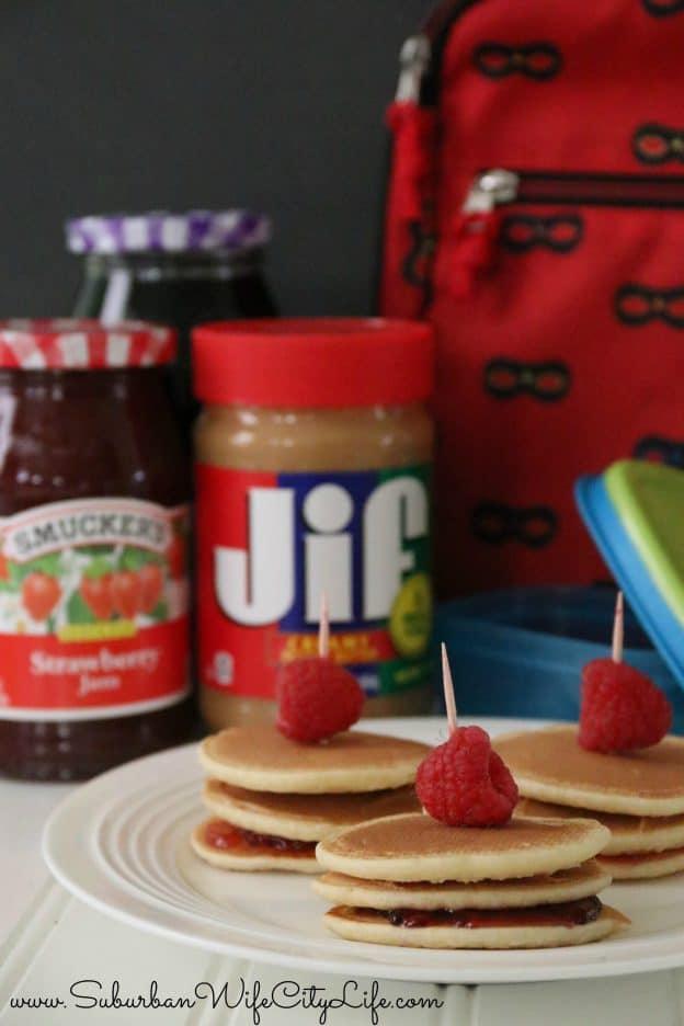Mini Pancake PB&J Sandwiches