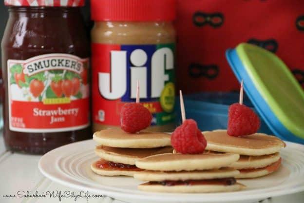PB+J Mini Pancake sandwiches