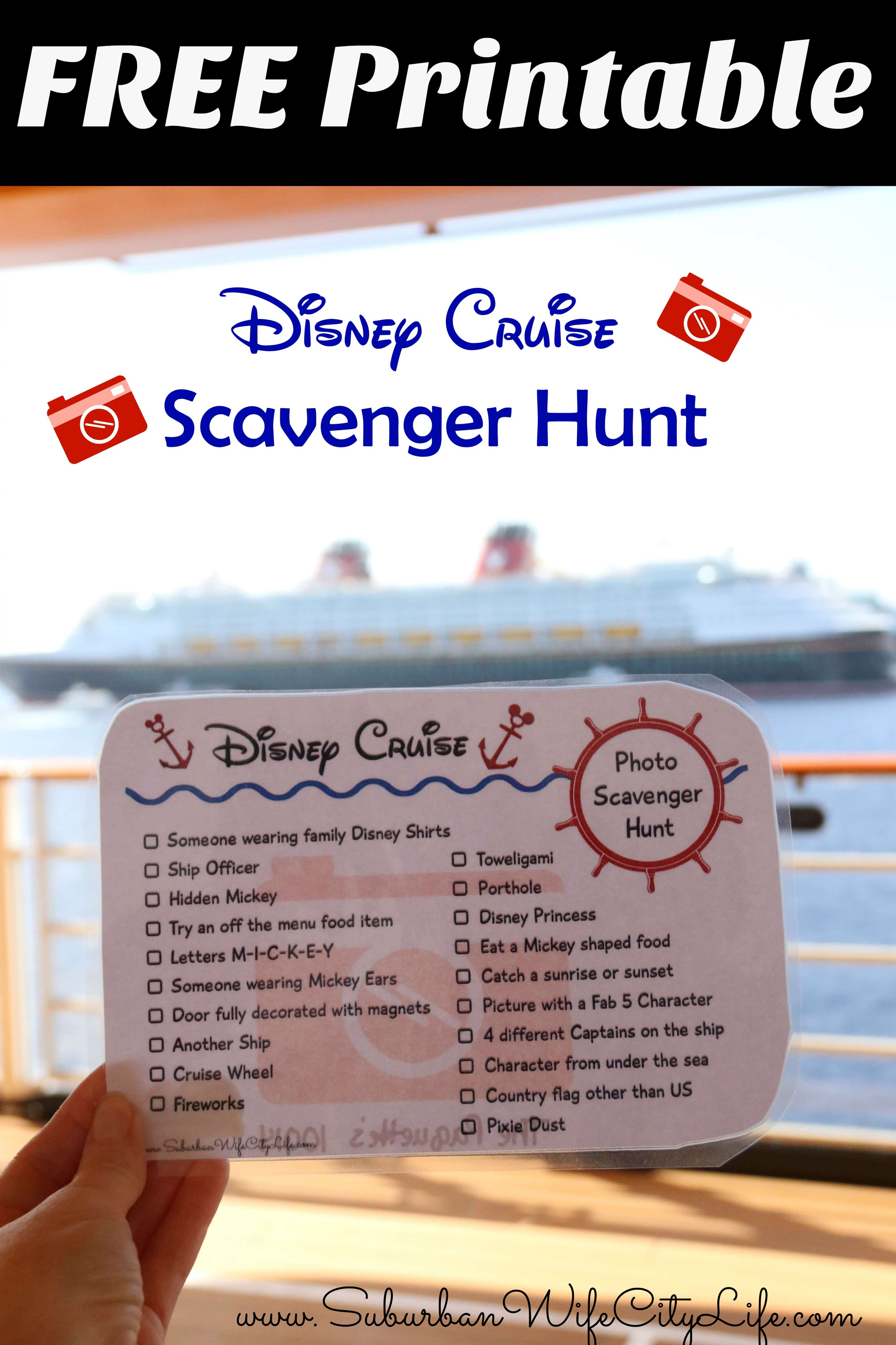 Disney Cruise Photo Scavenger Hunt – Free Printable