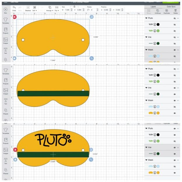 Pluto Sleep mask Cricut