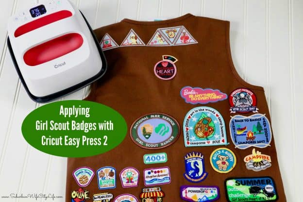 Use the Cricut Easy Press 2 to apply girl scout badges