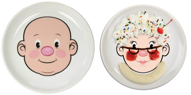 Mr & Mrs. Food Face Plate