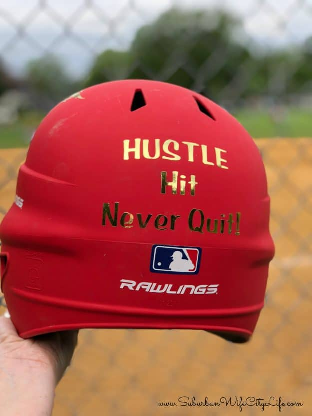 Hustle Hit Never Quit Softball Helmet
