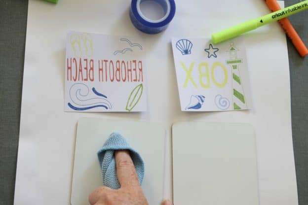 Cricut Infusible Ink Coasters clean with a link free cloth