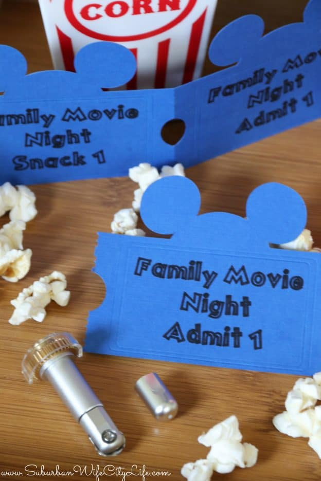 Family Movie Night tickets with Cricut