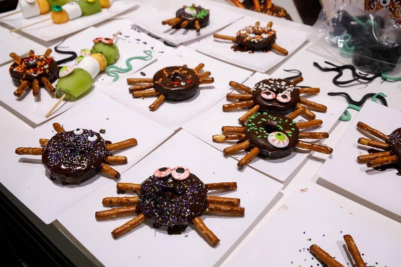 Parents gives great fun food ideas like Spider Donuts
